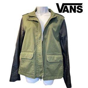 Vans XL military green canvas/pleather jacket